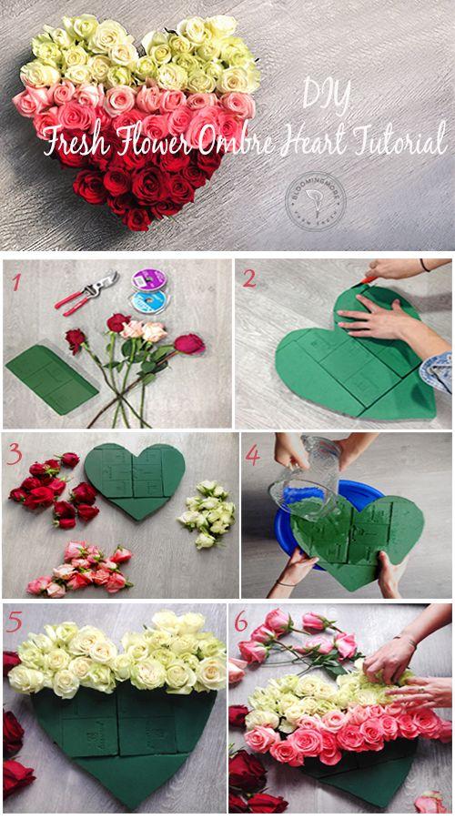 DIY Fresh Flower Ombré Heart Tutorial