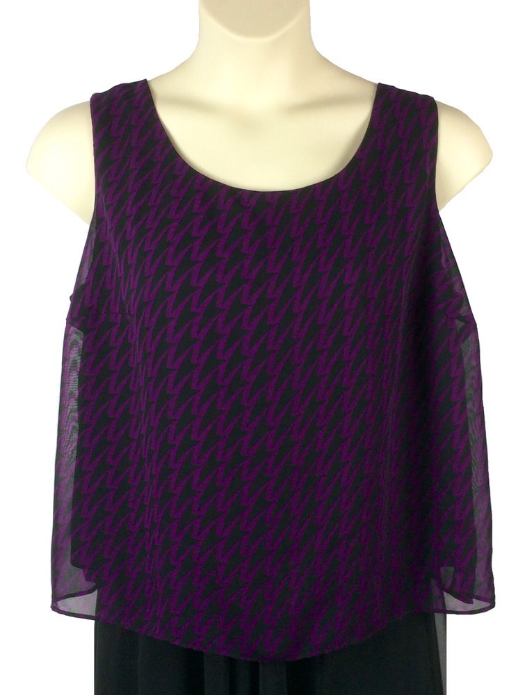 6dc47b2668067 Anna Maxwell Blouse Plus Size 18WP Women s Petite Sleeveless Black and  Purple  AnnaMaxwell  Blouse  Any