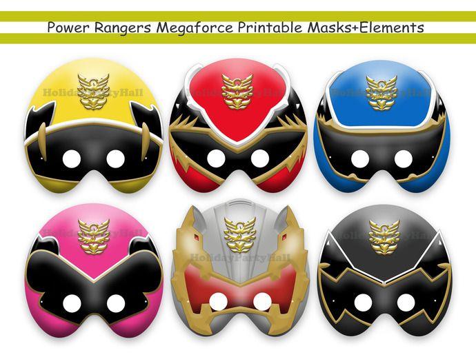 Unique power rangers megaforce printable masks elements - Masque de power rangers ...