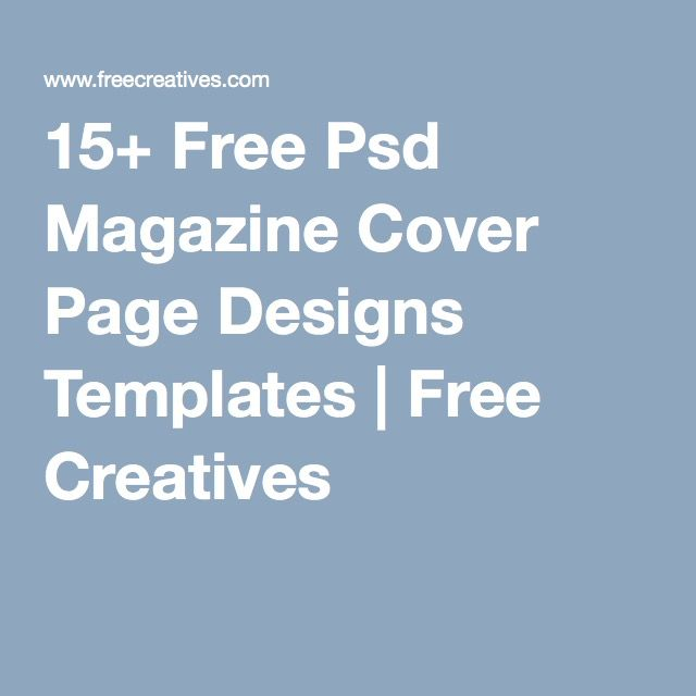 15 Free Psd Magazine Cover Page Designs Templates Free