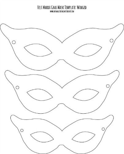 graphic about Free Printable Masks Templates named Felt Mardi Gras Masks for Little ones free of charge printable holiday seasons