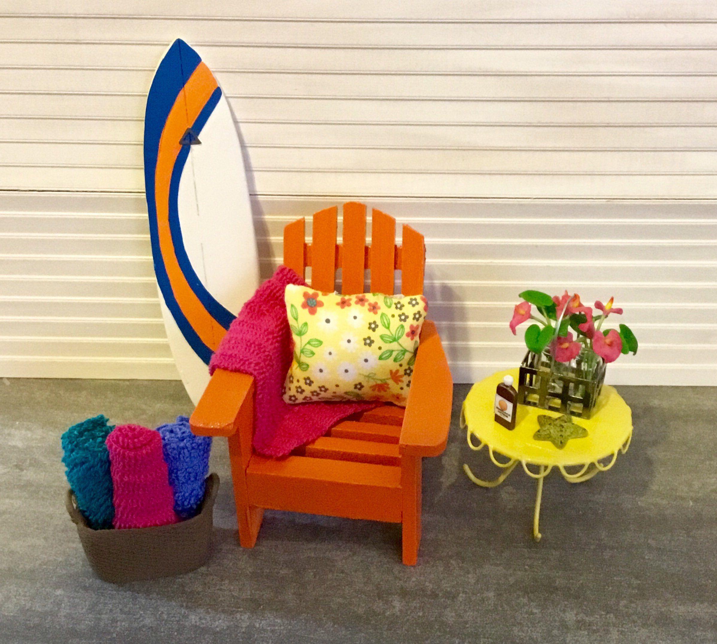Dollhouse Miniature Orange Adirondack Chair Yellow Metal Table