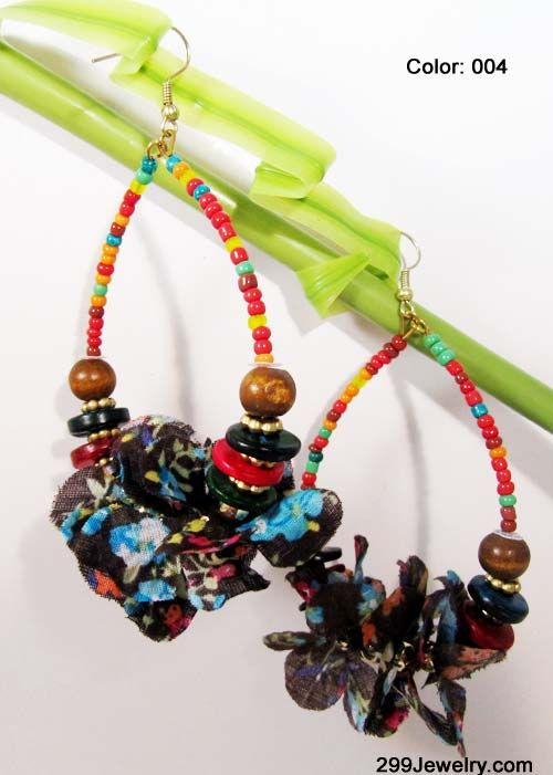 Fabric Ethnic Beads Earrings - More Color Available - 299Jewelry.com