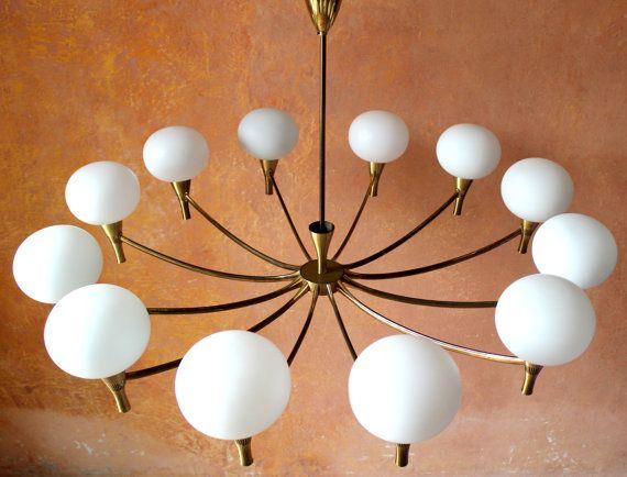 Italian 12 Lights Chandelier Ceiling Lamp Brass Opal Glass Murano ...