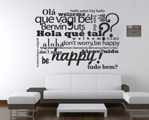 welcome in different languages wall sticker - welcome decal - office