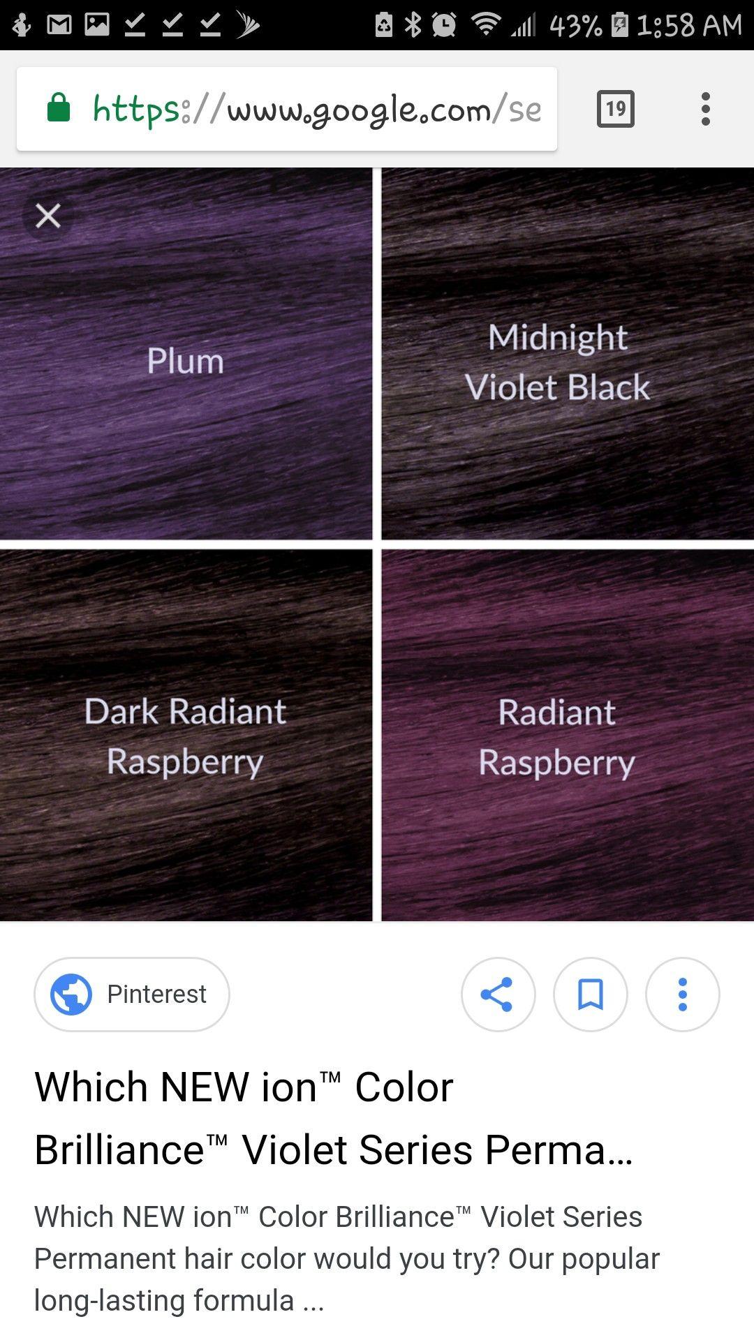 Ion Color Brilliance Violet Series Permanent Hair Color Ion Color Brilliance Hair Beauty
