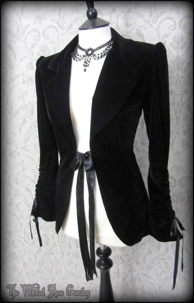 Elegant Gothic Jet Black Velvet Ribbon Tie Fitted Jacket 8 Vintage Victoriana | THE WILTED ROSE GARDEN