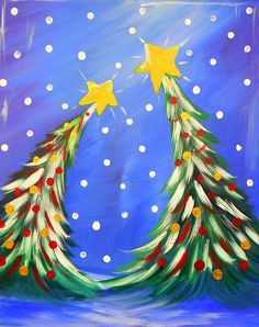 acrylic painting for christmas - Google Search | paint party ...
