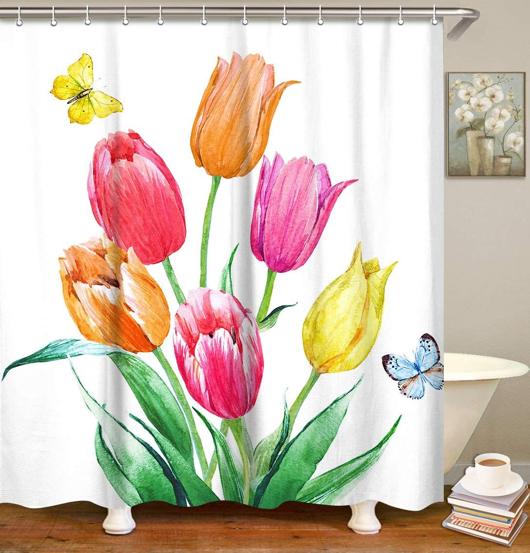 Livilan Tulip Shower Curtain Floral Fabric Bathroom Curtain Set