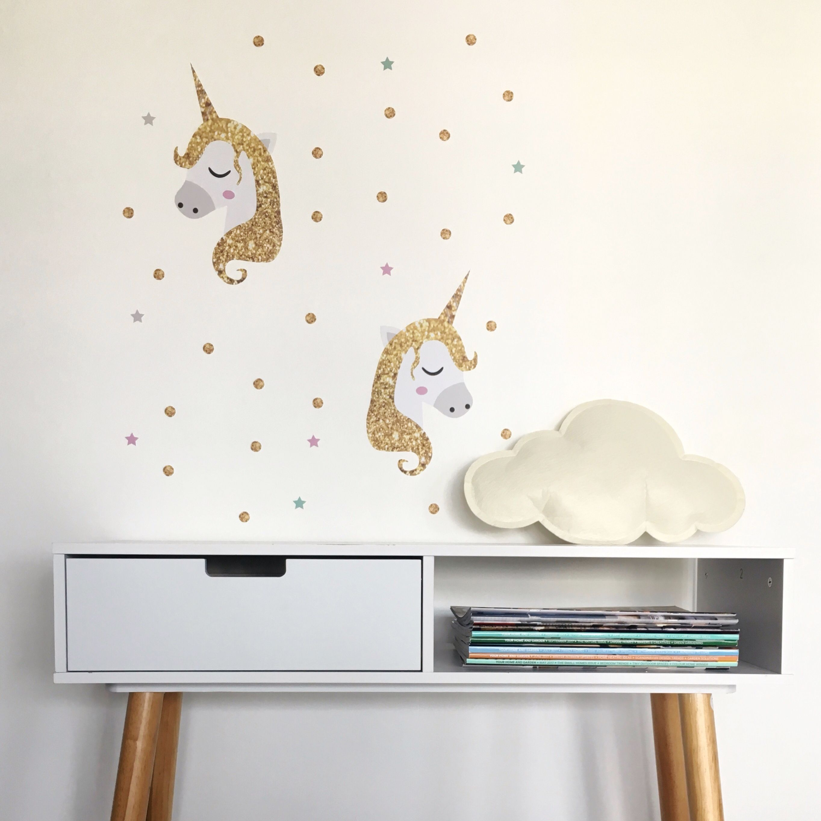 New Unicorn Wall Sticker Set U0027Golden Unicornsu0027! Kids Wall Decals