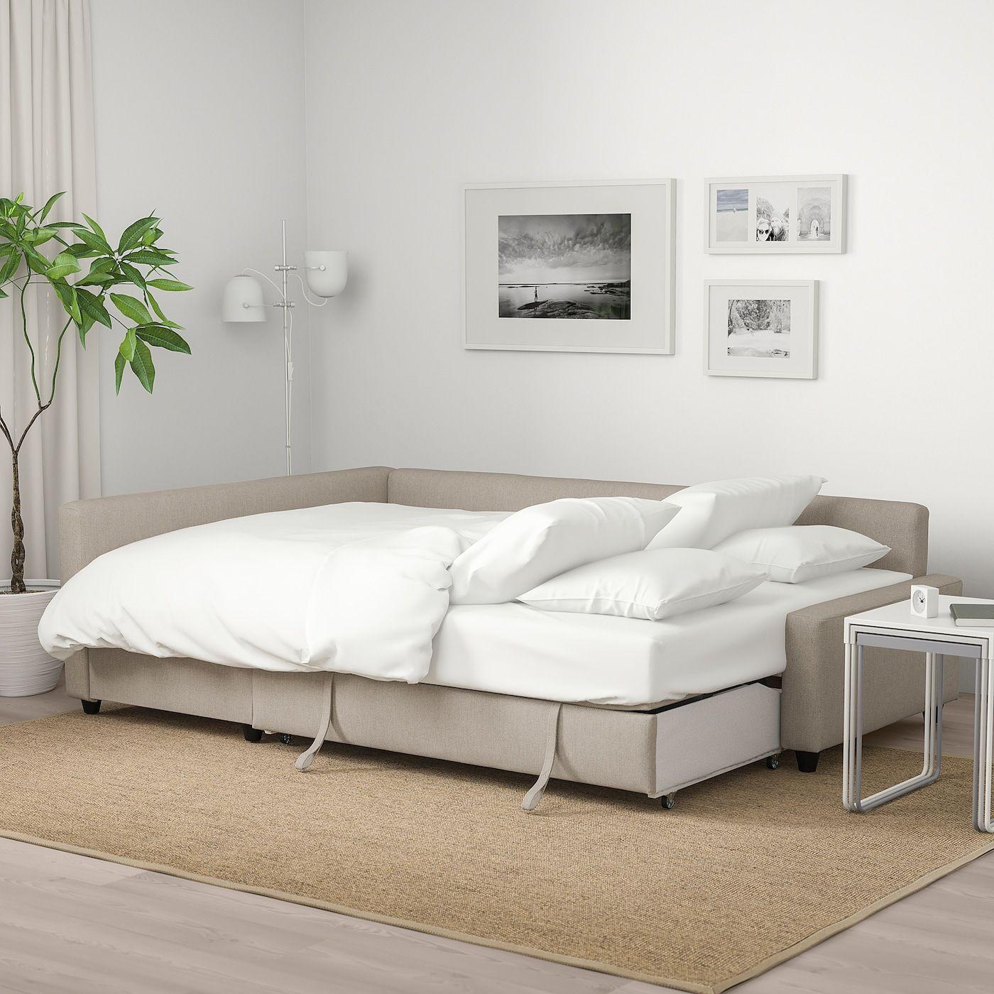Friheten Sleeper Sectional 3 Seat W Storage Hyllie Beige In 2020 Corner Sofa Bed With Storage Sofa Bed With Storage Ikea Sofa Bed