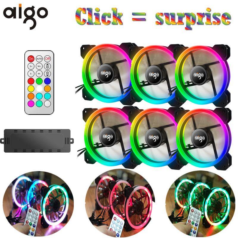 Aigo Dr12 3pcs Computer Case Pc Cooling Fan Rgb Adjust Led 120mm