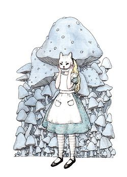 Illustration Alice In Wonderland watercolor Cheshire Cat mushrooms artists on tumblr ink and watercolor