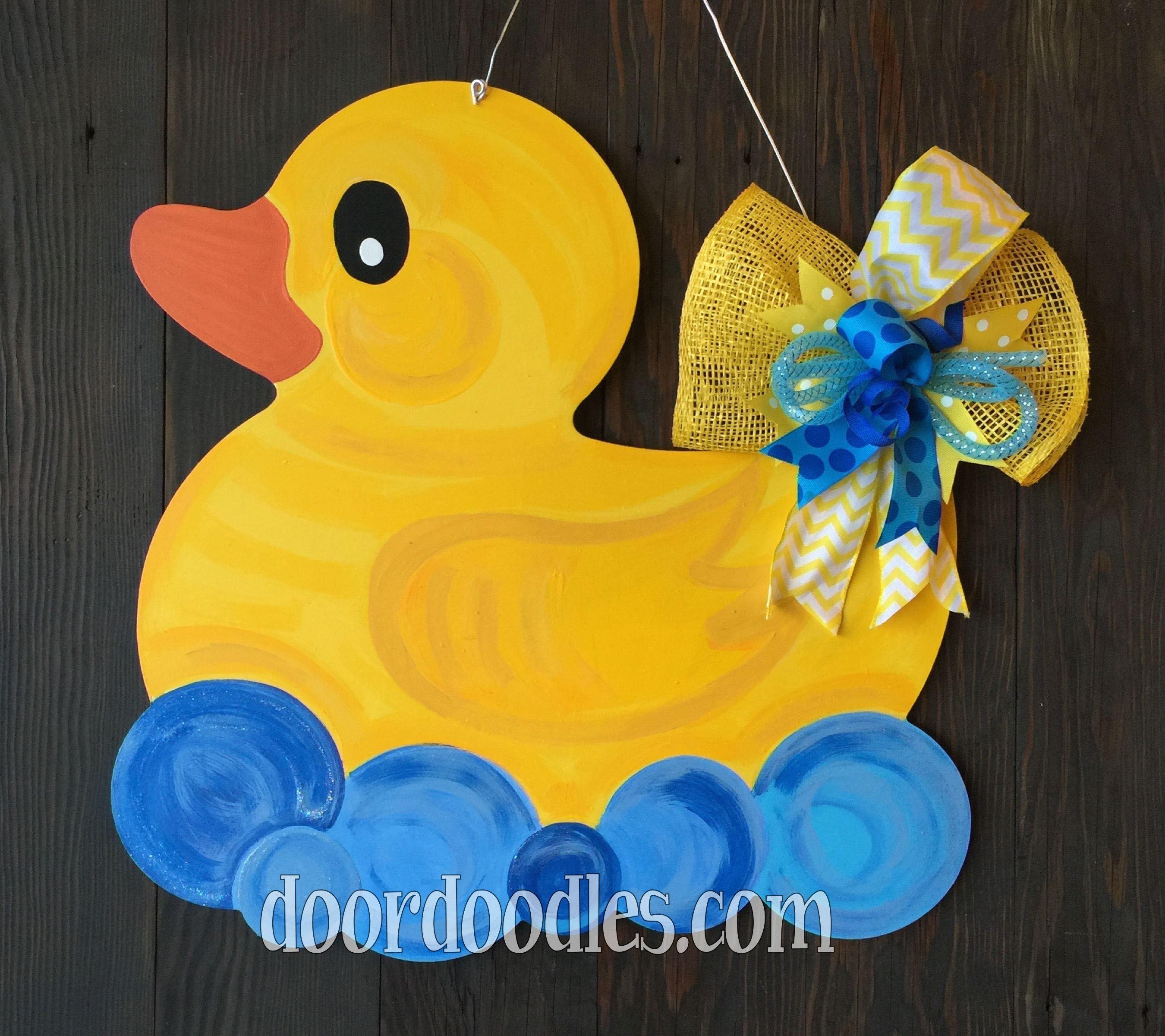 Decorative door hangers craft - Rubber Ducky Door Hanger Baby Shower Birth Announcement Hospital Front Door Decoration