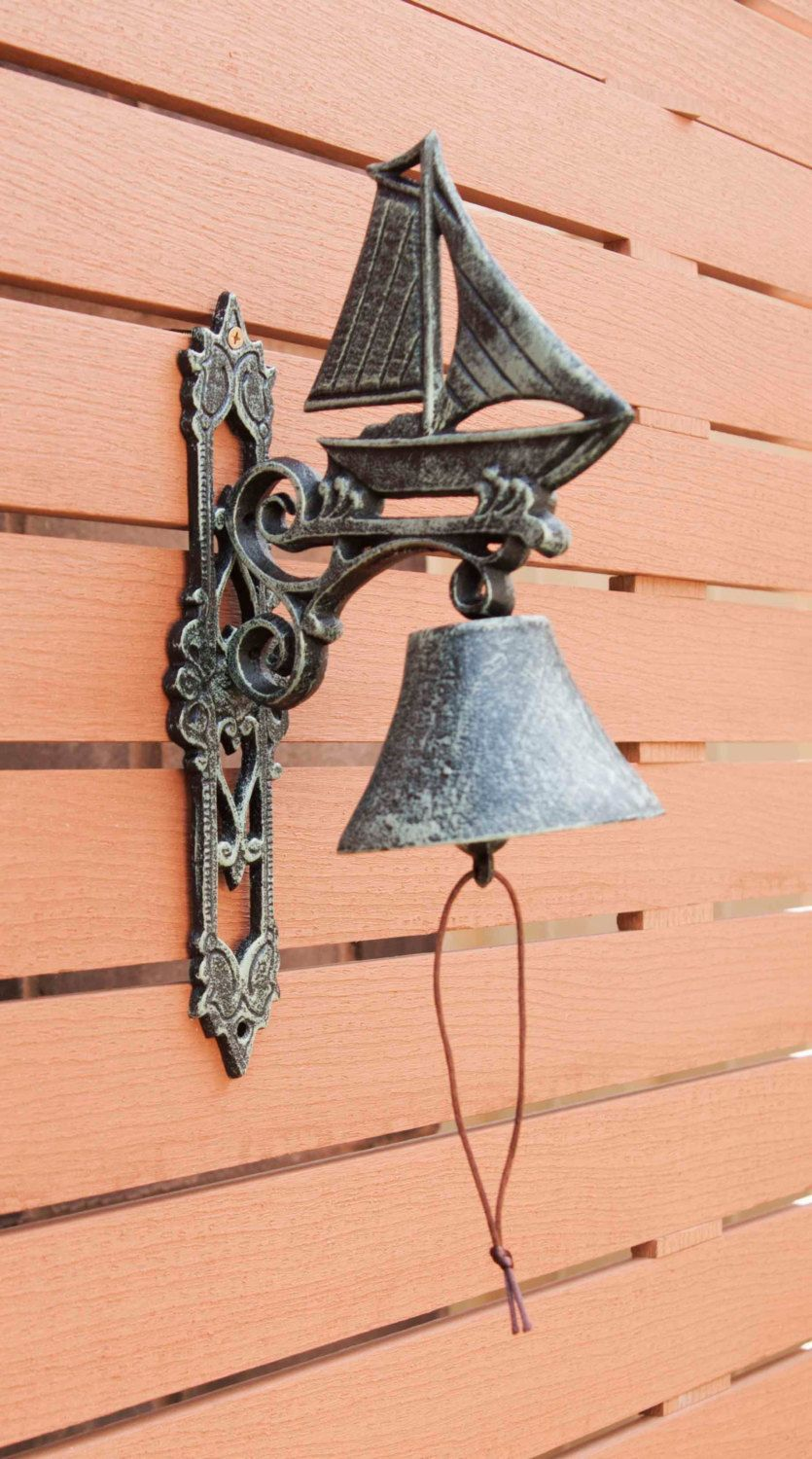 Cast Iron Doorbell Sail Boat Decorative Hanging Door Bell Antique Rust And Verdigris By Maddingtoncast On Etsy