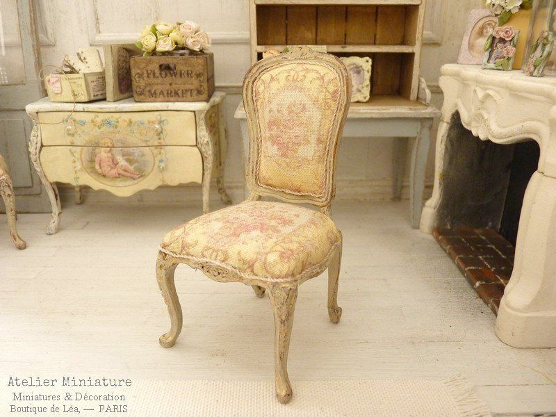 French Dollhouse, 112th scale, Miniature in wood, Chair Louis 15th