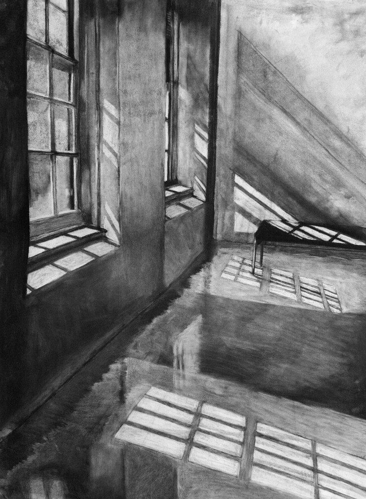 Clara Lieu, Student Artwork, RISD Foundation Studies, Freshman Drawing course, Interior Architectural Space Defined by Light Assignment, charcoal, ...