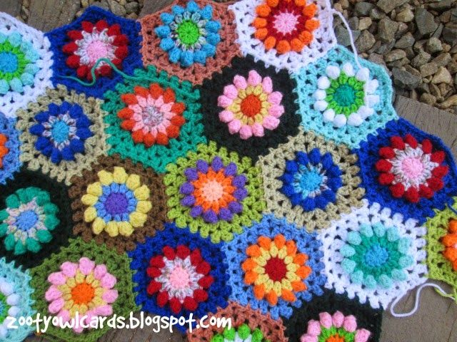 popcorn flower hexagon | Granny Squares, Hexes, & Mandalas in 2018 ...