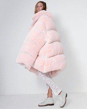 36b9f69ff Ella Boucht Pink Velvet Burnout Oversize Puffer Coat Profile Photo ...