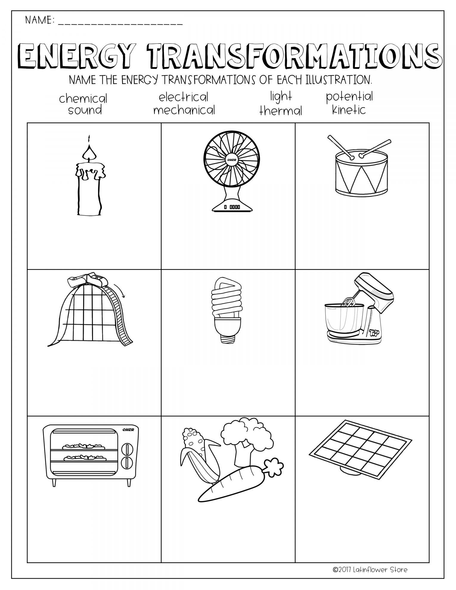 10 6th Grade Energy Transformation Worksheet