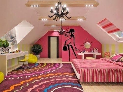 Girly Attic Bedroom For Teenage Girls Temo Designs Small Room
