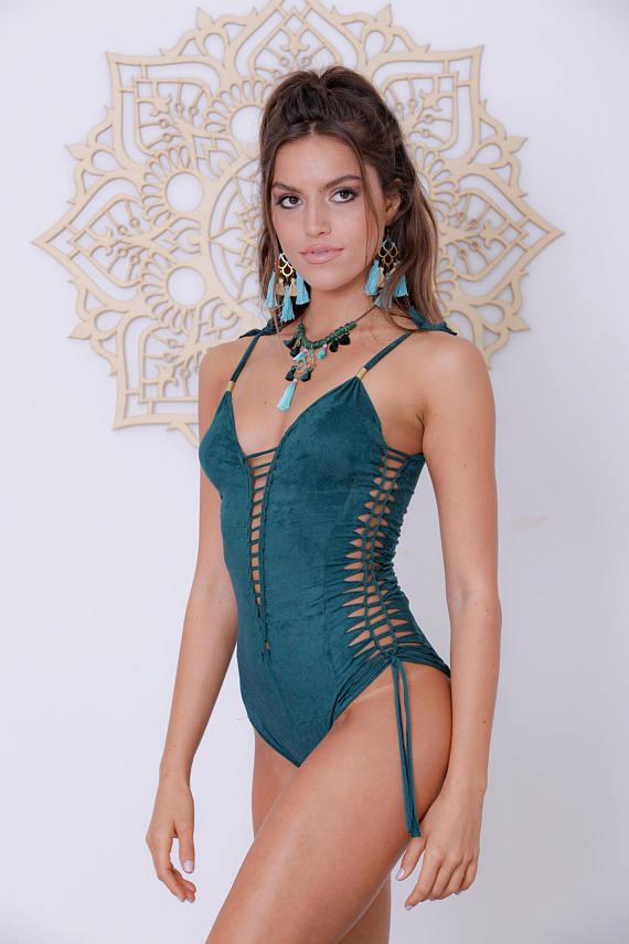 ef2964d5a46 One Piece Swimsuit, Dark Green Suit, Sexy Bathing Suit, Boho Swimwear,  Hippie Swimsuit, Steampunk Cl