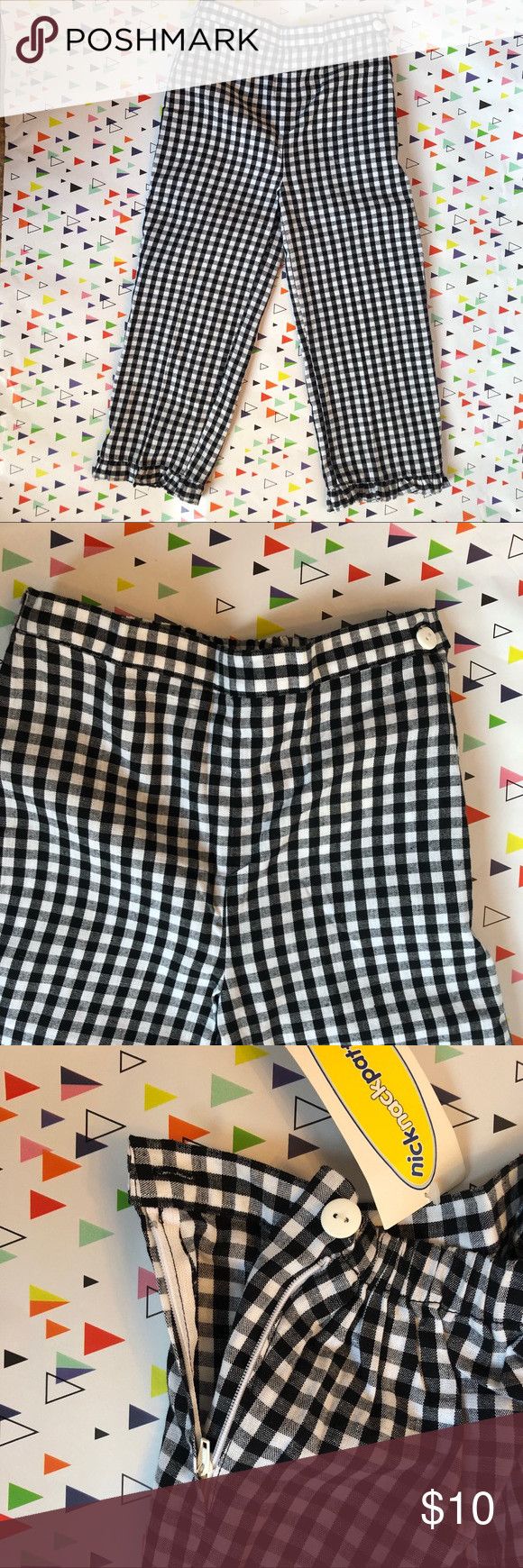 Patty by Knick Knack Patty Wack Checkered Pants Patty by Knick Knack Patty Wack Girls Black and White checked knit pants have cute ruffled bottoms. Button and zipper on the side of waist is easy for little hands to open and close. Elastic waist band on the back. Brand new with tags on. Patty by Knick Knack Patty Wack Bottoms Casual #knickknack