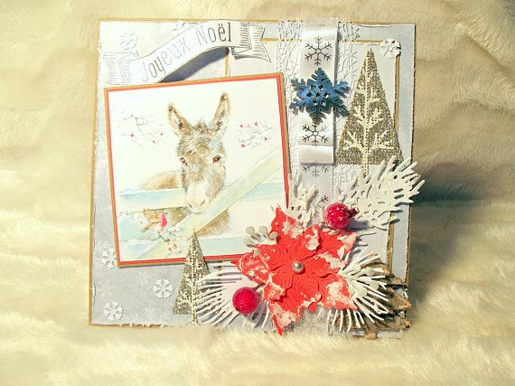 Carte Joyeux Noel Motif Ane Blanc Bleu Gris Rouge Carte Animaux