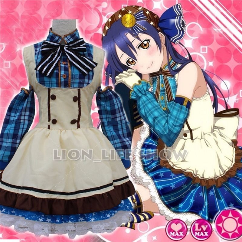 Japanese Anime Love Live! Sonoda Umi Lolita Girls Fancy Candy Maid Dress  Cosplay Costumes Uniform