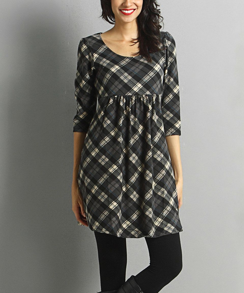 Look what I found on #zulily! Gray & Beige Plaid Empire-Waist Tunic by Reborn Collection #zulilyfinds