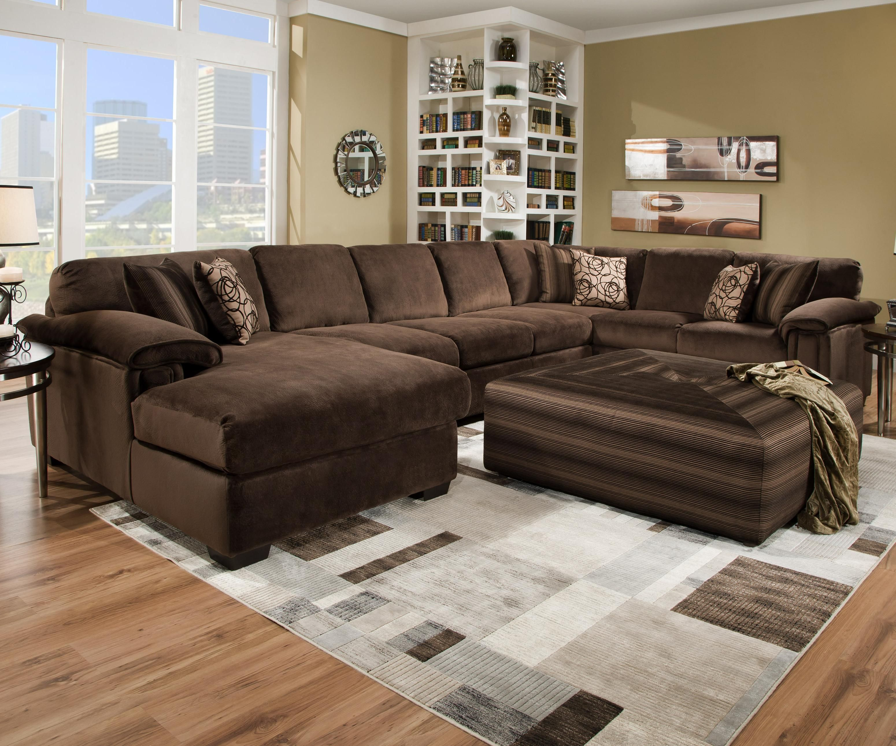 chocolate brown velvet sectional sofa
