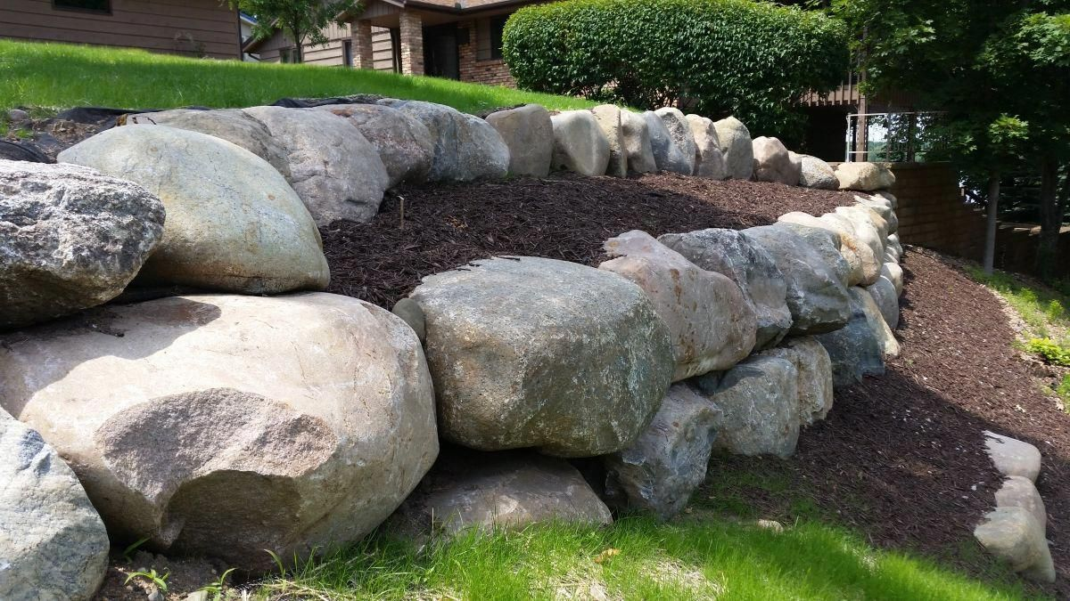 Boulder Retaining Wall Landscaping Retaining Walls Rock Wall Landscape Boulder Retaining Wall