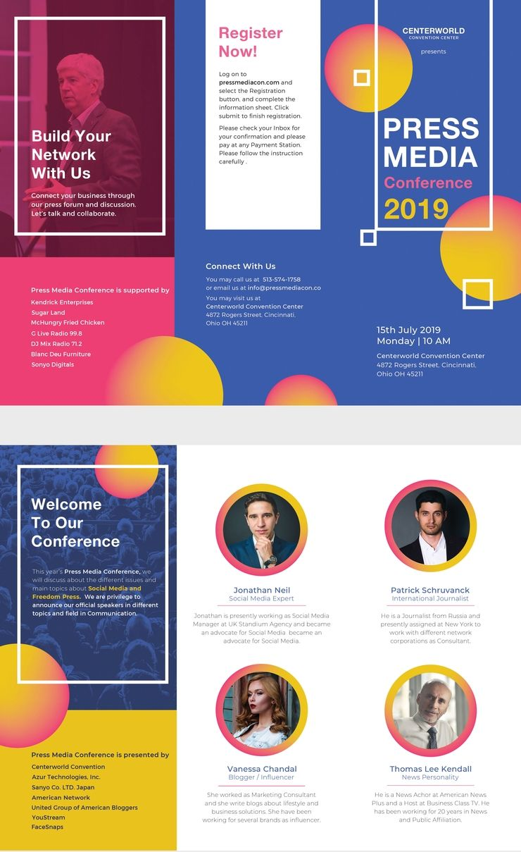 free conference brochure free designs pinterest brochure