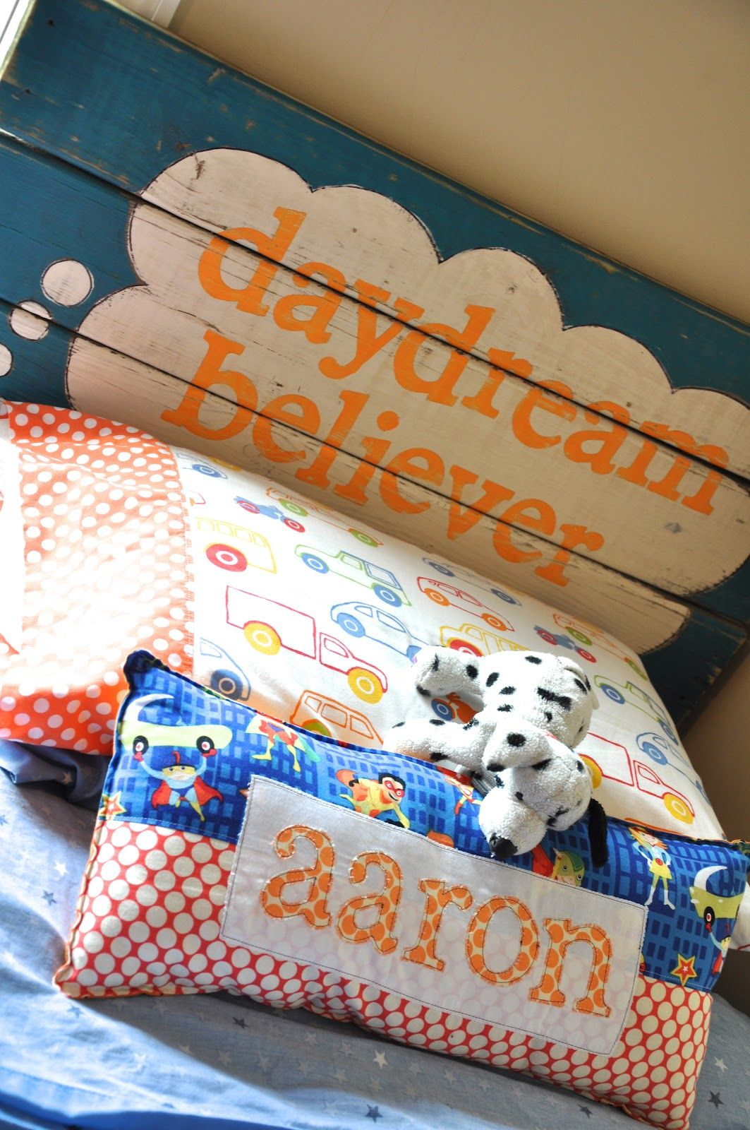 Little Bit Funky: daydream believer... {headboard from scrap wood}