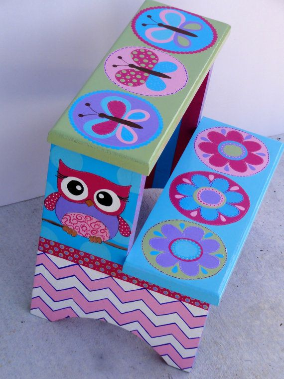 Children S Hand Painted Step Stool By Cutekidcreations On