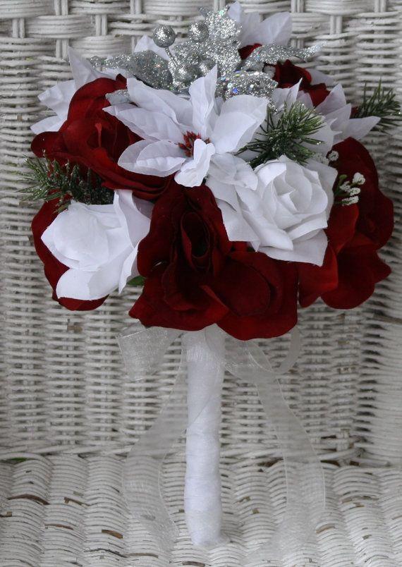 Silk Bridal Bouquet White Poinsettias Burgandy Roses Poinsettia