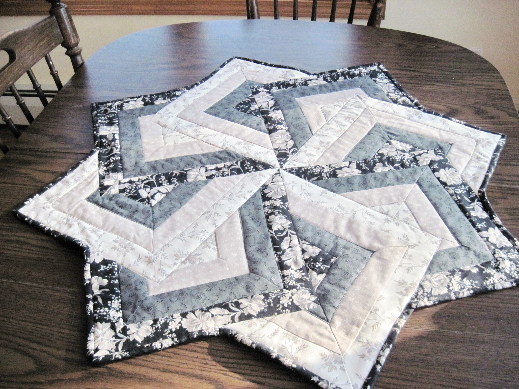 Modern Quilted table topper centerpiece table runner round table black taupe