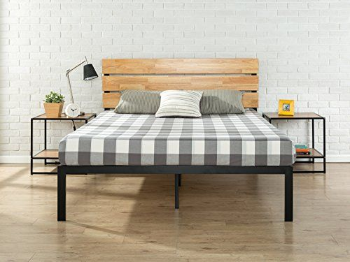 Zinus Paul Metal And Wood Platform Bed With Wood Slat Support Queen