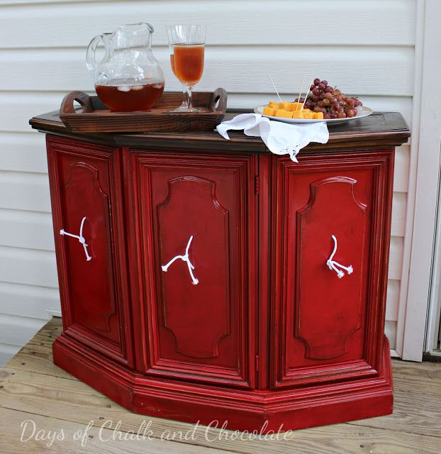 Days of Chalk and Chocolate: Credenza Makeover-How To Make Outside Furniture Weather-Resistant