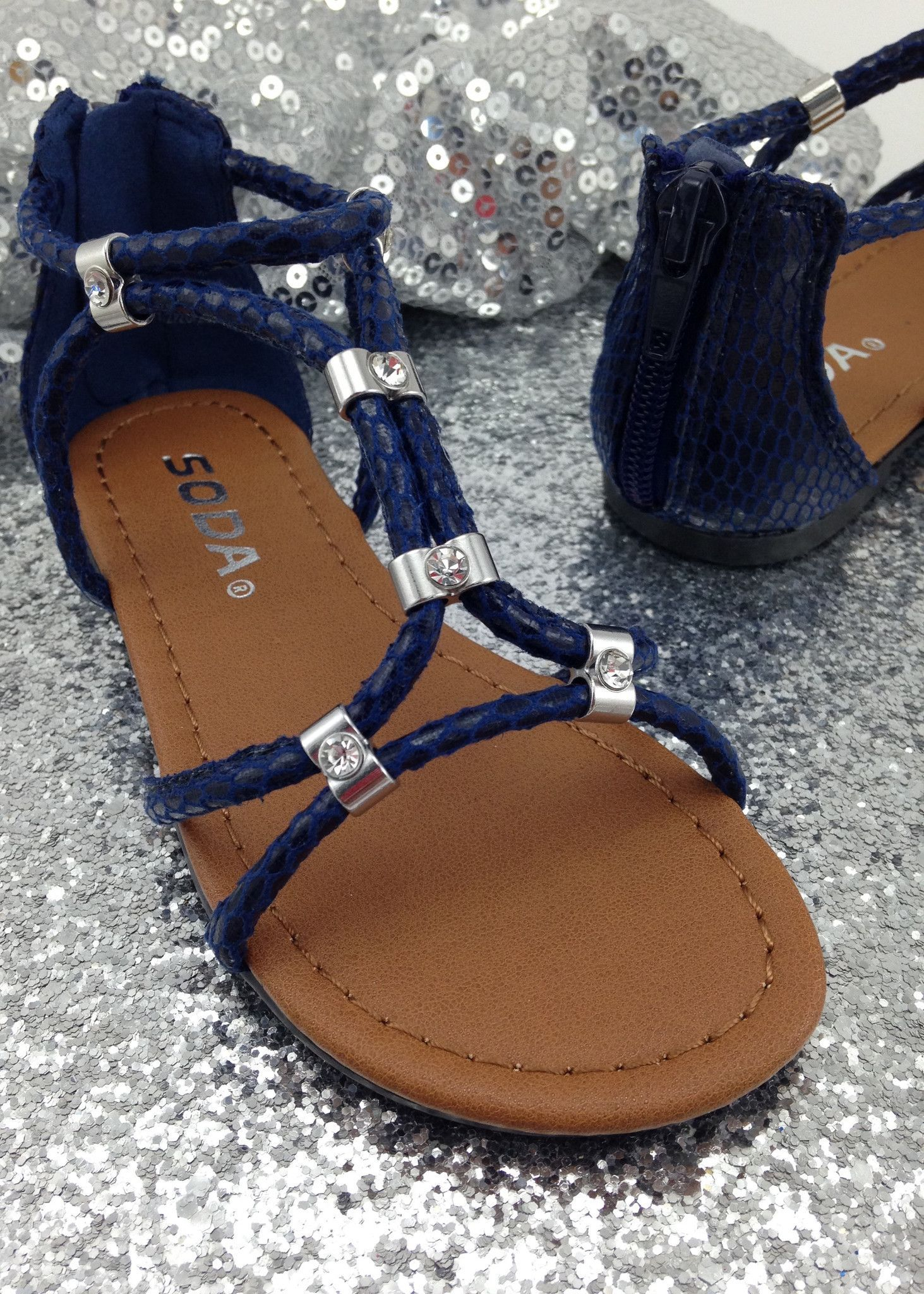 622efc5bd8b Navy Blue Gladiator Sandals
