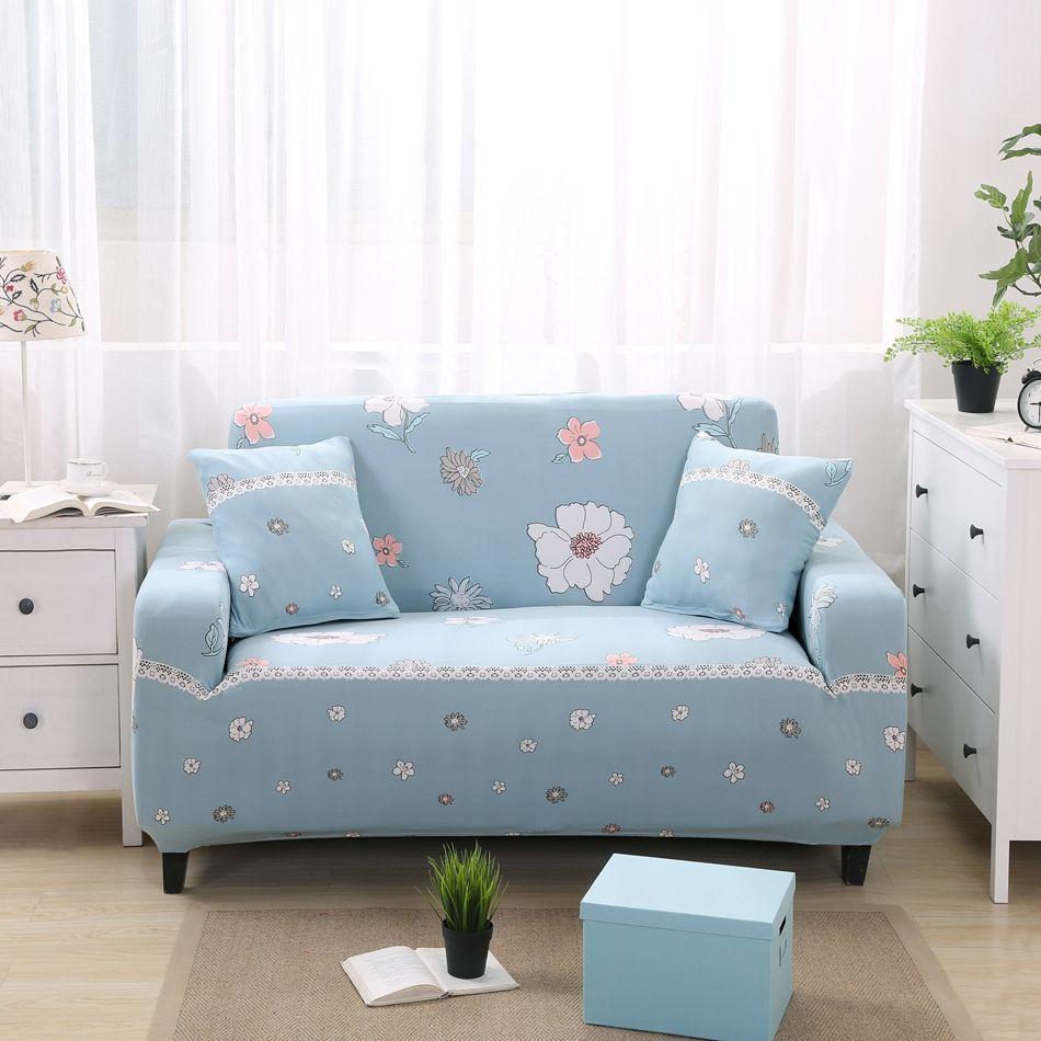 Flowers Design Sofa Sectional Covers Fresh Color Washable Sofa Slipcovers Elastic For 1 2 3 4 Seat Sofas Decorat Sofa Covers Light Blue Sofa Corner Sofa Covers