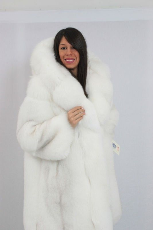 Winter white fox fur coat