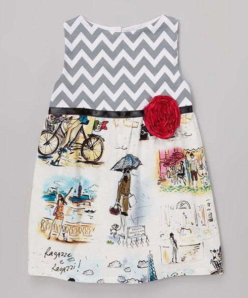 Another great find on #zulily! Wonder Me Gray Zigzag Eiffel Tower Dress - Toddler & Girls by Wonder Me #zulilyfinds