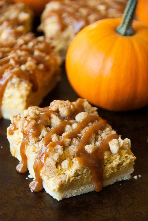 Cinnamon Caramel Pumpkin Cheesecake Shortbread Crumble Bars   thekitchenmccabe.com