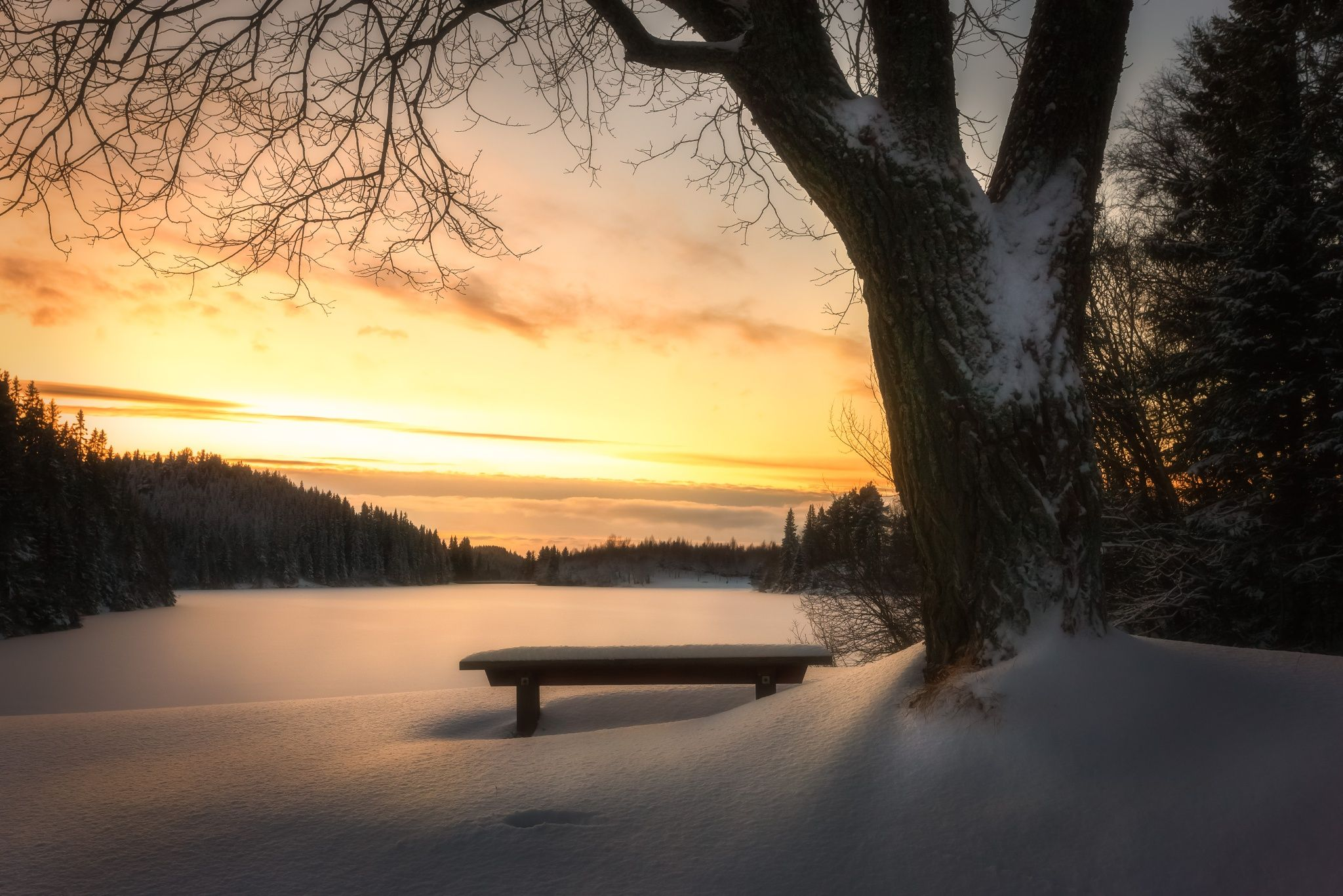 Photograph Winter Sunset by Knut Aage Dahl on 500px