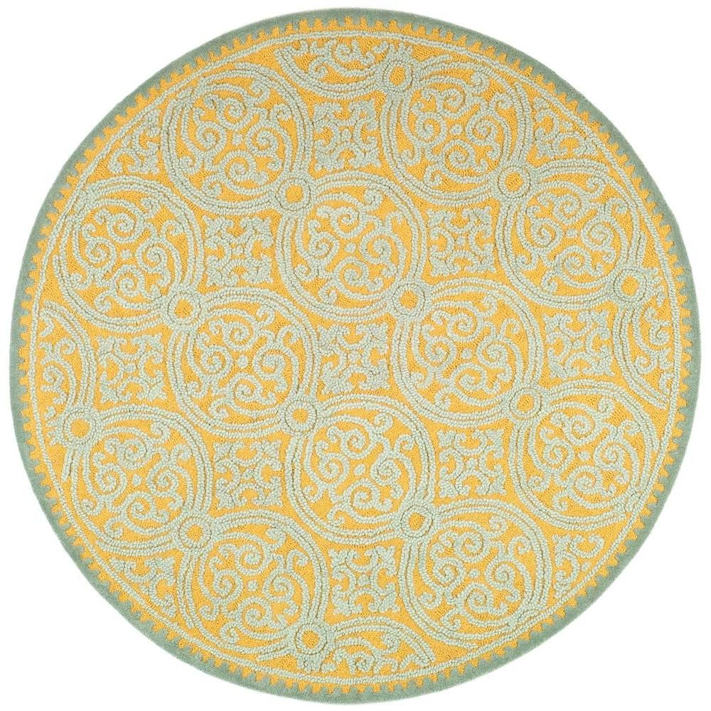 Cambridge Blue Gold 8 Ft X 8 Ft Round Area Rug Blue Wool Rugs