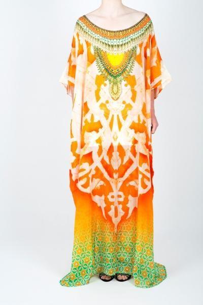 62f1c8a4e535 Embellished Kaftan Dress Design KC-K191-L | Silk Kaftans | Designer ...