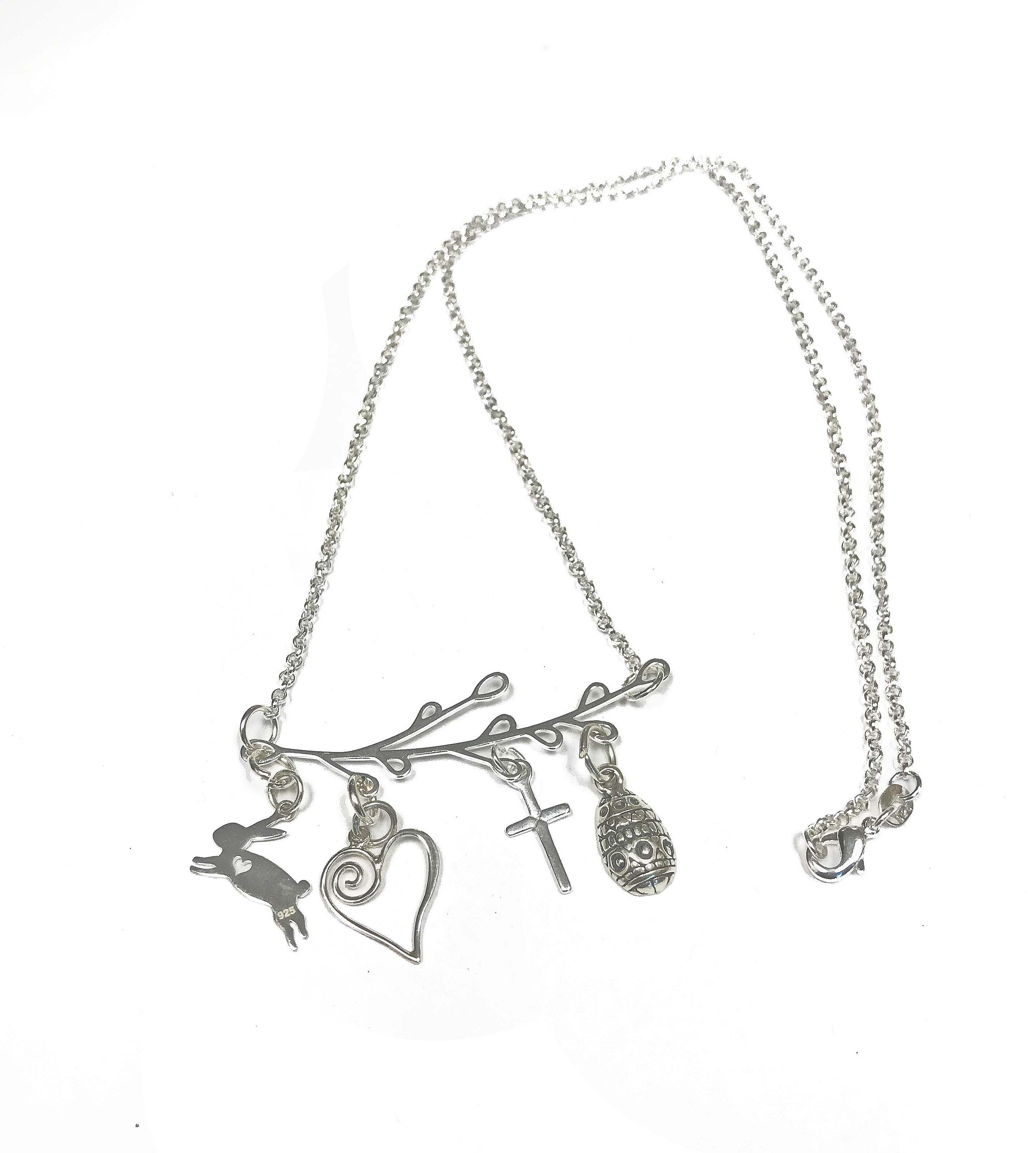 Photo of Charms on a Sprig, Celebrate Spring Times, Sterling Silver Necklace features a Bunny Rabbit, an Egg, a Cross and a Heart, Mother's day gift