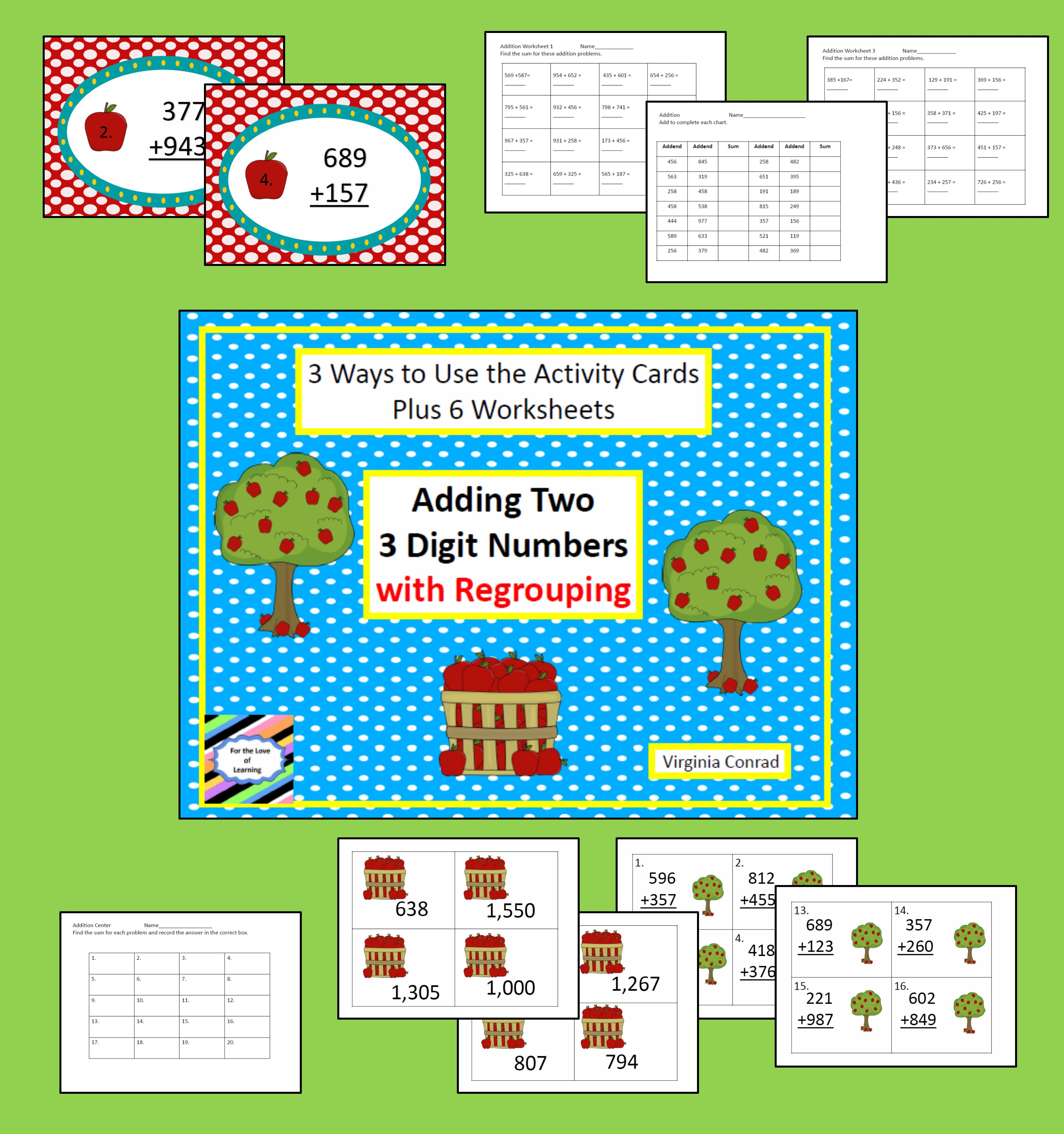Adding 2 Three Digit Numbers With Regrouping Apple Theme