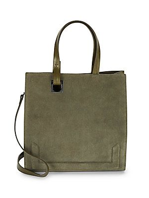 14fb1d222c Halston Heritage Leather   Suede Crossbody Bag - Olive - Size No S ...